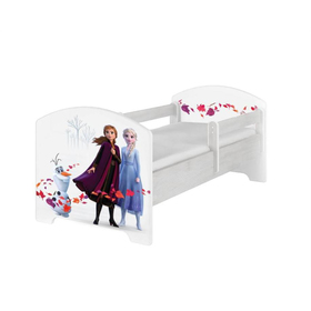 Letto per bambini con barriera - Ice Kingdom 2 - Decoro in pino norvegese, BabyBoo, Frozen