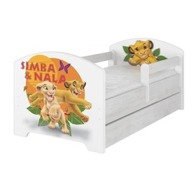 Letto per bambini con barriera - Il re leone - decoro in pino norvegese, BabyBoo, The Lion King