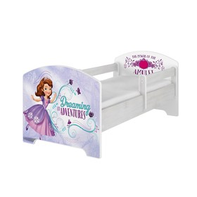 Letto per bambini con barriera - Sofia la prima - decoro in pino norvegese, BabyBoo, Sofia the first